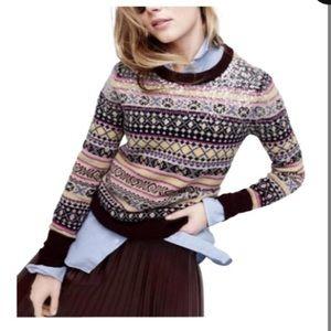 J. Crew Sequin Fair Isle Pink Sweater NWTS XL